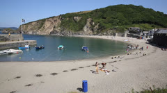 Polkerris Cornwall England near St Austell and Par on a sunny day Stock Footage