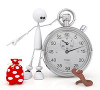 The 3d little man with a stop watch. Stock Illustration