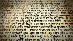 4K Ultra High Definition Ancient Script Language on Papyrus Scroll Stock Footage