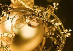 Golden Christmas Ornaments Stock Photos