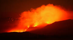 Time Lapse of Large Forest Fire at Night - stock footage