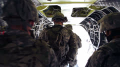 Soldiers Leaving Chinook Action 01 Stock Footage
