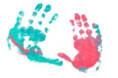 imprint child hands - stock photo