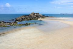 fort on island in saint malo - stock photo