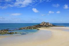 fort on island in saint-malo - stock photo