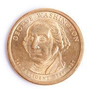 One dollar coin with george washington Stock Photos