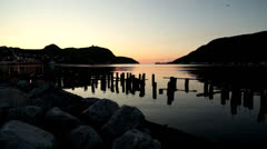 Old Wharf in Sunrise Stock Footage