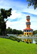 the scenic view of thai royal residence at bang pa-in royal palace - stock photo