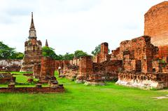 wat mahathat ancient ayutthaya period - stock photo