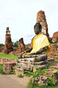 Ancient statue of buddha in wat mahathat temple, ayutthaya thailand Stock Photos
