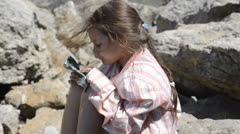 Little girl with hair flowing Stock Footage