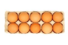 dozen eggs in a pot.isolated. - stock photo