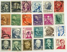 postage stamps with a president of usa and political figures. - stock photo