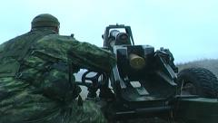 Military, Artillary gun firing - stock footage