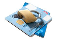 Secure of credit card Stock Photos