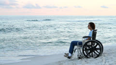 Disabled Woman Lonely Stock Footage