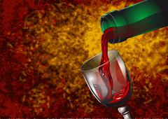 wine pouring - stock illustration