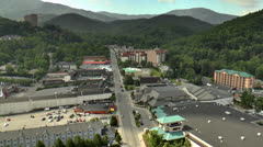 Gatlinburg, Tn and Smoky Mts from high above city Stock Footage