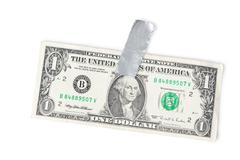 paper currency and tape - stock photo
