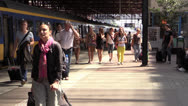 Stock Video Footage of Crowd at railway station