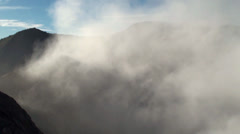 Foul-smelling fumes over Bromo volcano. Java, Indonesia Stock Footage