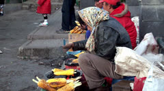 Street vendors grilled corn. Java, Indonesia Stock Footage