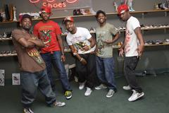 Strikers all star.strikers all star dance crew visits ed hardy shoe wearhouse Stock Photos