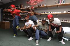 strikers all star.strikers all star dance crew visits ed hardy shoe wearhouse - stock photo