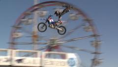 MOTOCROSS MOTORCYCLE JUMP STUNT TRICK BIG AIR MOTOCROSS RIDER HD 1080 Stock Footage