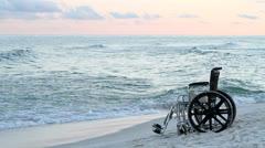 Wheelchair Beach Stock Footage