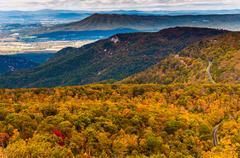 autumn view of the appalachians from loft mountain, shenandoah national park, - stock photo