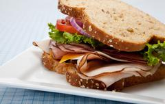 Turkey sandwich on whole grain bread Stock Photos