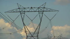 High voltage transmission lines & tower Stock Footage
