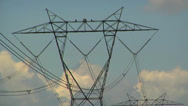 Stock Video Footage of High voltage transmission lines & tower