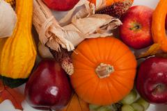 Assorted fall vegetables as a background Stock Photos