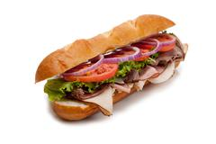 submarine sandwich on a white background - stock photo