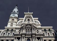 philadelphia city hall thunderstorm - stock photo