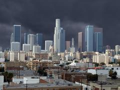 los angeles downtown storm - stock photo