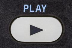 play button macro - stock photo