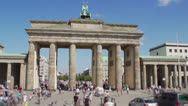Brandenburg Gate with tourists Stock Footage