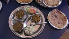 Food in India train station on table Stock Footage