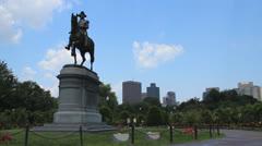 Boston Common Washington Statue Stock Footage