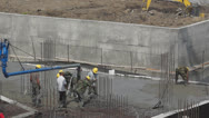 Stock Video Footage of Workers build a new house of concrete