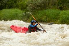 Stock Photo of River Rafting In Kayak Ecuador South America