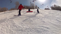 Skiers resting on mountain Stock Footage