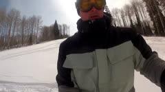 man powder skiing - stock footage