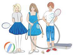 group of children - stock illustration