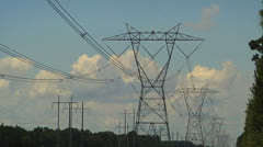 High voltage transmission lines, Wide Angle Stock Footage