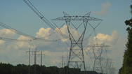 Stock Video Footage of High voltage transmission lines, Wide Angle