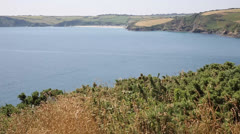 View from Black Head towards Penewan and Mevagissey Stock Footage